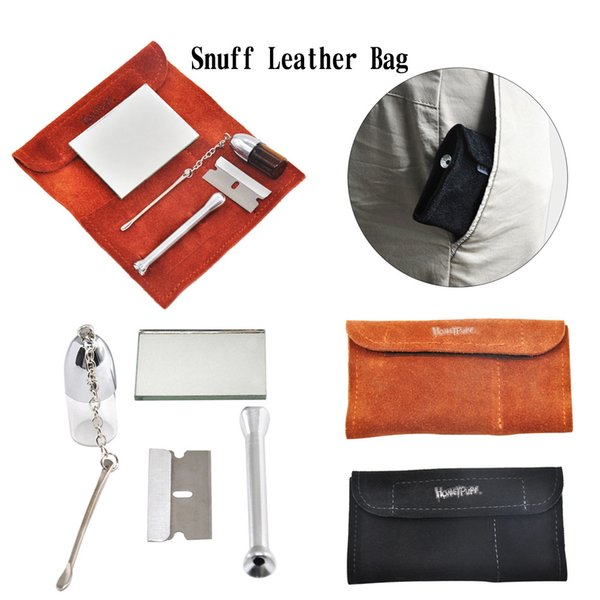 New 100% Genuine Leather Tobacco Pouch Bag Snuff Snorter Tool Sniffer Straw Hooter Hoover Pouch Bag Pipe Smoking Case Pill Bottle Box Case