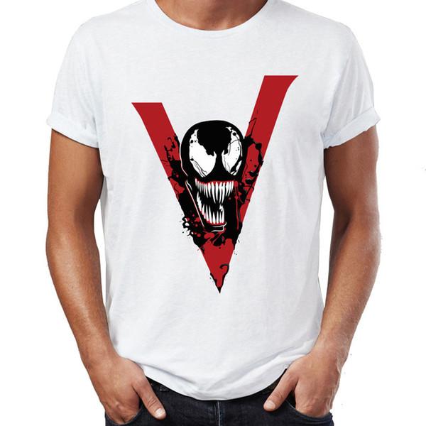 Moda fresco O pescoço Venom partes superiores legal engraçados Spiderman Spidey Camisetas T gráfico impressão Tee manga curta
