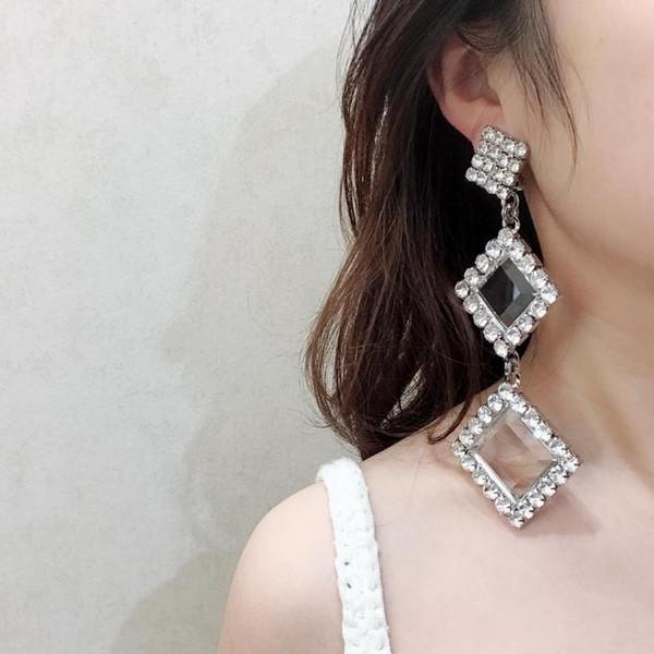 Tasarımcı takı düğün kristalin küpe Küçük kare kristal kulak klipsi Lüks kadın banket parti takı kalabalık