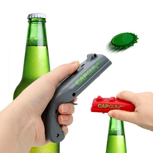 best selling Can Openers Spring Cap Catapult Launcher Gun shape Bar Tool Drink Opening Shooter Beer Bottle Opener Creative