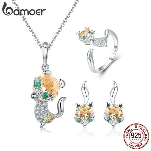 3PCS 925 Sterling Silver Jewelry Sets Cute Fox Animal Ring Stud Earrings & Necklaces Dazzling Yellow Crystal Women Anniversary Birthday Gift