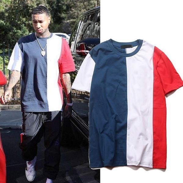 Siyah Ve Kırmızı Dikiş Kontrast Renk Kısa Kollu Yüksek Sokak Gelgit Erkekler Ve Kadınlar Çift T-shirt INS Moda Tee M ~ XL HFSSTX123