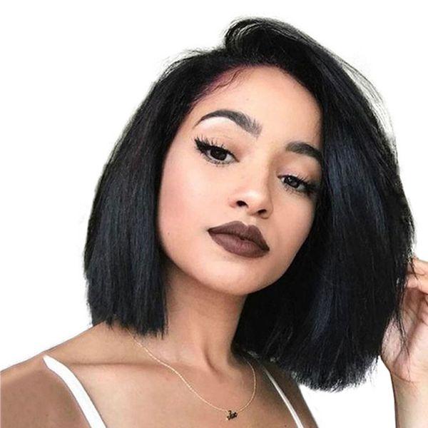 250% Dichte Bob Perücke Kurze Spitzefront Menschliches Haar Perücken Für Frauen 13X6 Brasilianische Gerade Remy Haar