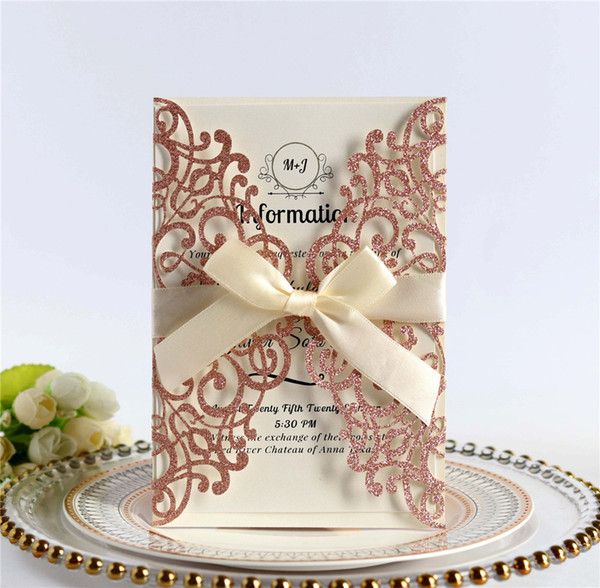 2019 Gold Powder Wedding Invitations Laser Cut Customizable Hollow Crystal Lace Bow Ribbon Wedding Invitation Cards Supplies Printable Cards