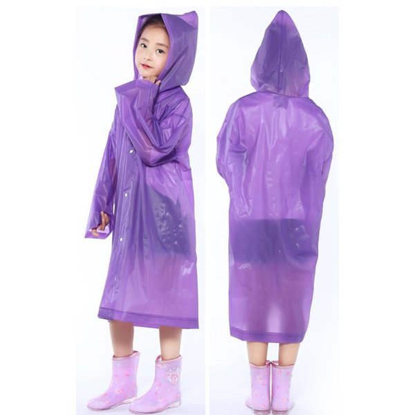 Unisex Color Thicker EVA 1PC Portable Reusable Raincoats Children Rain Ponchos For 6-12 Years Old new rainning weather wear