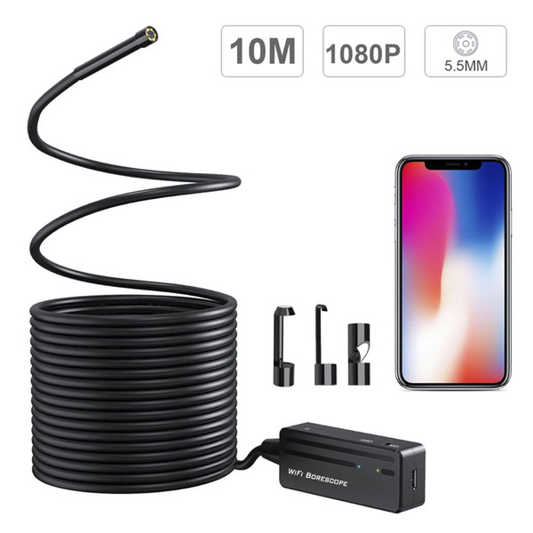 10M Cable Wireless Endoscope HD 5.5mm Waterproof WIFI Snake Camera Video Inspection Borescope for all System Above Android and iOS Cam PQ104