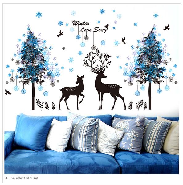 1 Adet Kar Taneleri Ağaçları Siyah Geyikler Duvar Çıkartmaları PVC DIY Hayvan Duvar Çıkartmaları Çocuk Odası Oturma Odası Dekorasyonu için