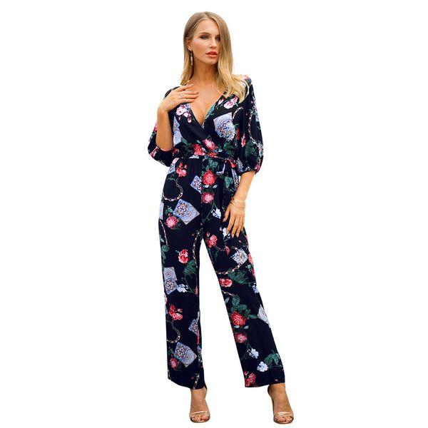 Original Designer Suit-dress 2019 Spring Xia Xinpin Printing Pure Cotton Lin Tai Pants mini short jumpsuit plus size rompers Free shipping