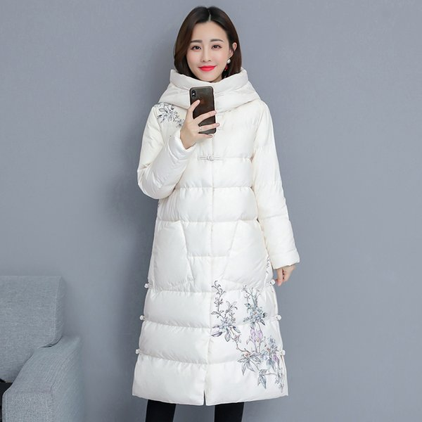 YICIYA whiter Long parka jacket women plus size thick warm coat winter hooded floral Chinese outerwear coats 2019 black clothing