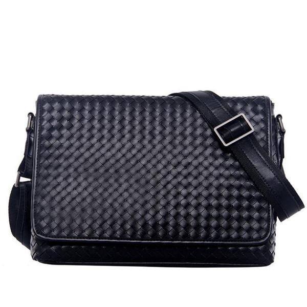 Brand Mens Messenger Bag Full Flap Pure Leather Mens Bag Shoulder Weave Fashion Business Series Bags