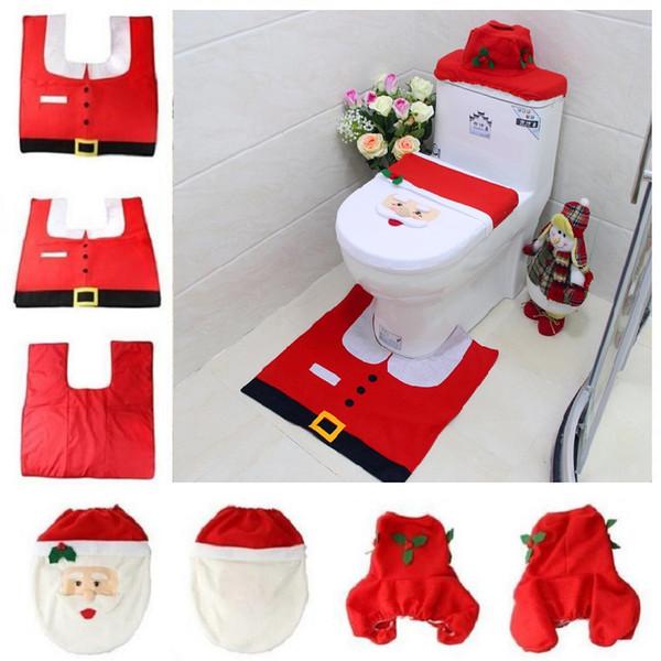 Natal WC Cobrir 3pc / set de Santa Toilet Seat tampa tapete do banheiro Tapete Tanque Ano Novo decorações de casa Decoração de Natal