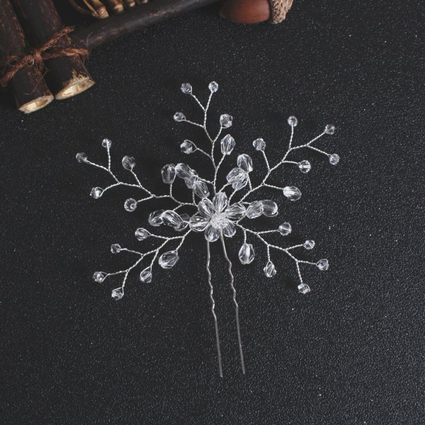 Nouvelle perle Bijoux de cheveux de mariée mariage Accessoires cheveux Peigne fleur U clip Rhinestone Bride Sticks Pin Hearwear