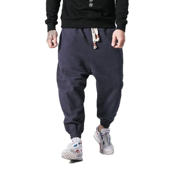 Pants Men 2019 Cotton Linen Harem Pants Men Hip Hop Cross-pants Mens Joggers Male Pantalones Hombre Retro Sweatpants 5xl T4190617