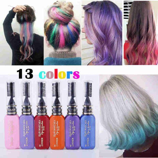 TEAYASON One Time Hair Color Hair Dye Temporary Non Toxic DIY Hair Color  Mascara Dye Cream Blue Grey Purple Hair Color Product Best Hair Color ...