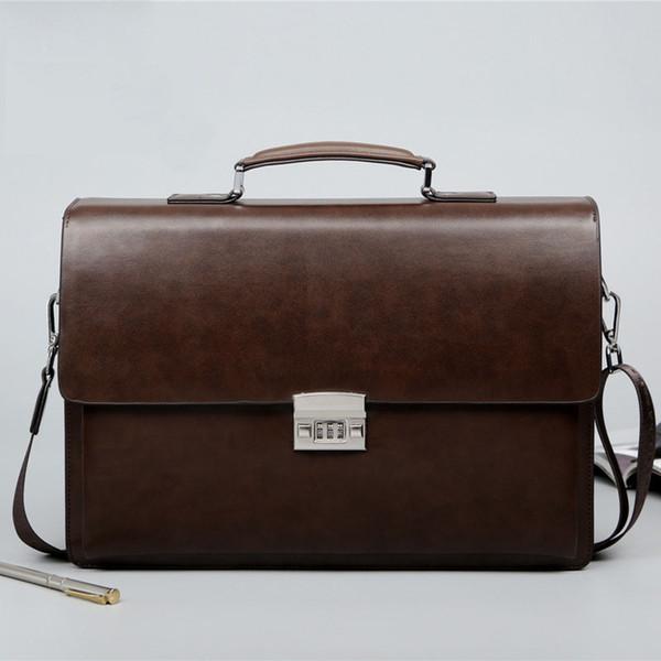 Comercio al por mayor Bolsa de hombre de negocios Theftproof Lock PU de cuero maletín para hombre Solid Bank OL Mens Briefcase Bag Dress Man