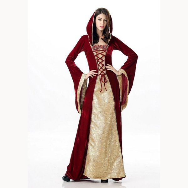 Winter Women Medieval Dress Vintage Adults Palace Party Dress Autumn Patchwork Lace Up Maxi Dress Helloween Costume