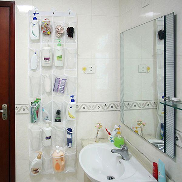 24 Pockets Storage Bag Hanging Shoes Holder Behind Room Door Bathroom Sundries Organizer Home Wall Hanging Shelf Bag with