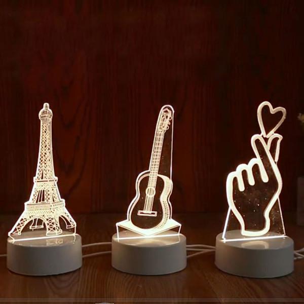 3D LED Lampe LED 3D Creative Night Lights Nouveauté Illusion lampe de nuit Illusion 3D Lampe de table pour la maison lumière décorative