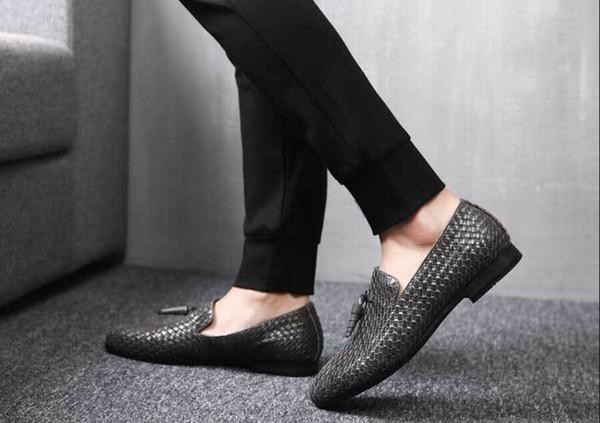 Couro genuíno Dos Homens Formais Oxfords Sapatos de Trabalho de Escritório de Negócios Vestido Sapatos Tecelagem para Homens Confortável Rendas Até Dedo Apontado Tamanho 37-48