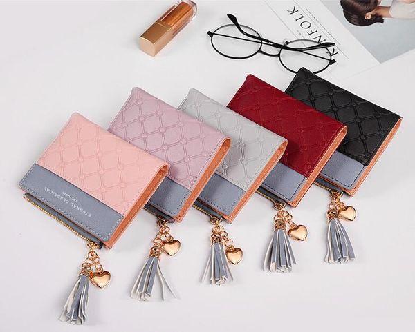 36pcs Wallet Damen PU Short Wallet Frische koreanische Version der Large Capacity Tassel Love Stitching Handtaschen