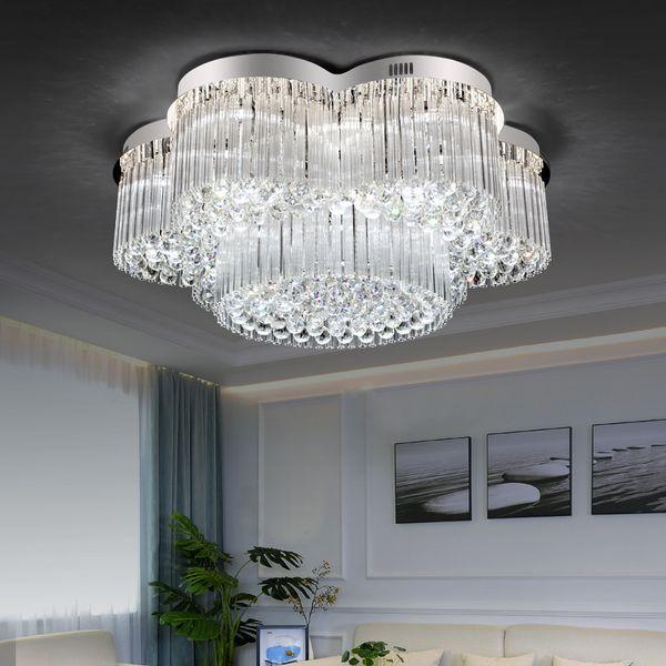 Moderna ronda K9 lámpara de techo de cristal de lujo para la sala de estar hogar nuevo contemporáneo moderno accesorios de iluminación led araña de cristal AC110-220V