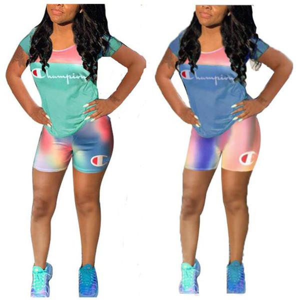 Gradient Color Women Champions Спортивный костюм Летний повседневный спортивный костюм с коротким рукавом футболка + шорты брюки 2 шт. Наряды Jogger Set