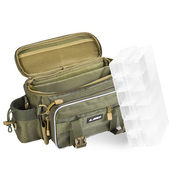 With tackle boxes