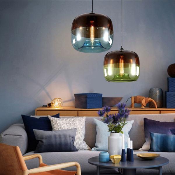 Großhandel Moderne Nordic Art Deco Bunte Hängende Glaspendelleuchte Lichter  Leuchten E27 LED Für Küche Restaurant Wohnzimmer Schlafzimmer Von ...