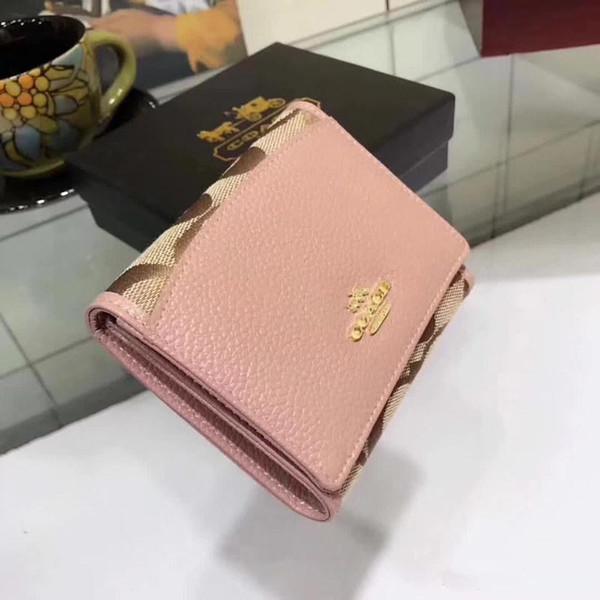 Luxury Designer Wallet for Women Men Mini Bifold Leather Wallet Tide-Brand Fashion Lady Girl Purse Card Holder Cash Pocket for Pink & Brow