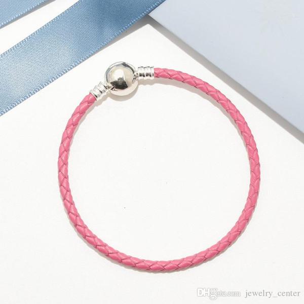 Rosa de cuero trenzado conjuntos encanto de la pulsera de Pandora Caja original de 925 diseñadores de lujo para hombre de plata esterlina mujeres niños pulseras