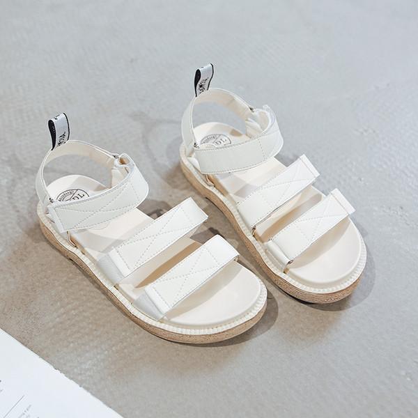 2019 été nouveau style simples et simples sandales de couleur unie femmes style rétro confortables sandales occasionnelles sauvages romaines