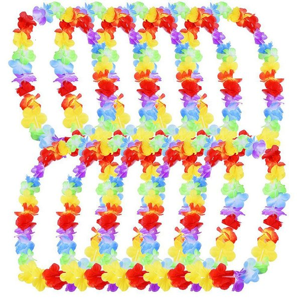 BULK Acquisti all/'ingrosso Collana Ghirlanda Hawaiana fiori multi colore ghirlanda Costume