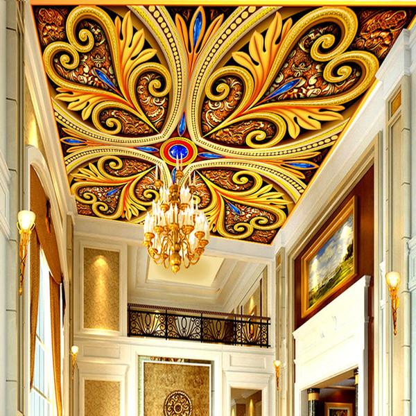 Photo faite sur commande Fond d'écran Home Décor Grand style européen modèle classique de luxe 3D Salon plafond Fresco murales Fond d'écran