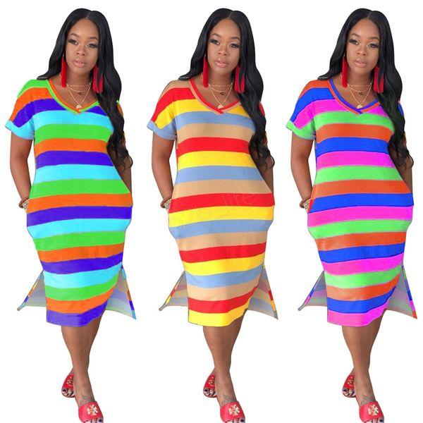 Женские полосатые платья миди летней одежды контрастного цвета с v-образным вырезом с коротким рукавом и свободными карманами уличных платьев LJJA2778