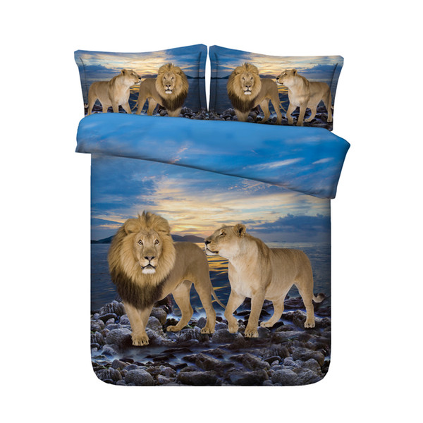 Blue ocean beach bedding tiger 3 Pieces Duvet Cover Set Comforter Quilt Bedding Cover With Zipper Closure Wildlife Leopard Bed Spread