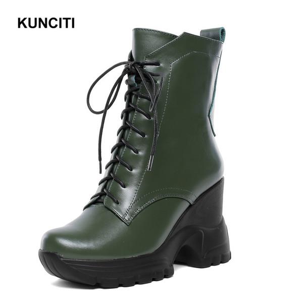 2019 KUNCITI Exército Verde Womens Cowboy Botas de Cunha Alta Mulheres Botas Tornozelo Sapatos Lace Up Senhoras Botas de Inverno Para As Mulheres D983