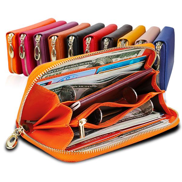 Carteiras de couro genuíno para mulheres e homens Luxo longo embreagem com zíper telefone RFID carteira de bolsa de alta capacidade com suporte de cartão