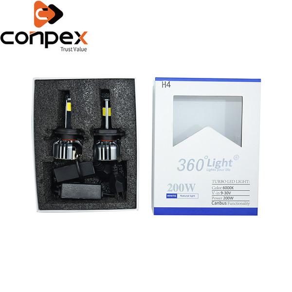 2 pcs lâmpadas de farol do carro led 12 v h4 h7 hb3 led canbus luzes do carro duas maneiras vortex sistema de refrigeração de ar de quatro lados da lâmpada contas