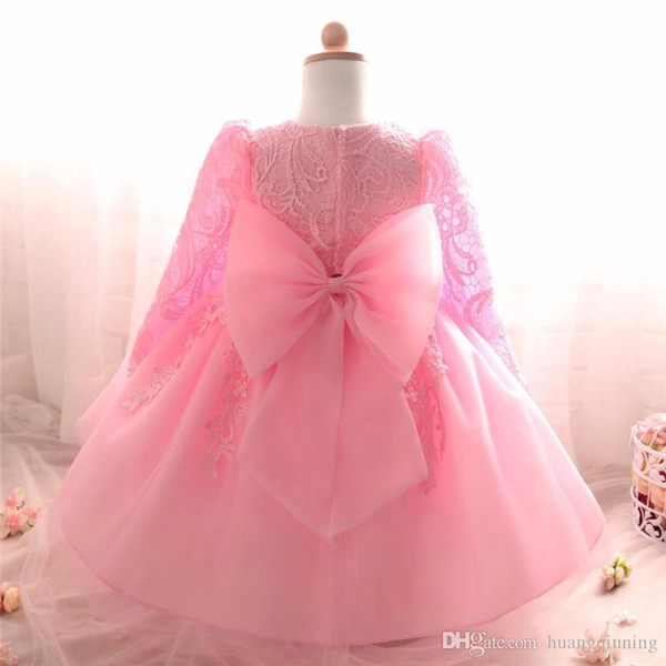 Winter Autumn Long Sleeve Dress For Girl Baptism Christening Gown Bebe Pink 1st Year Birthday Party Dresses Baby Toddler Lace Ball Gown 24M