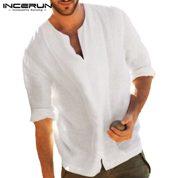 Chinese Style Men Casual Loose T Shirt Cotton V-neck Sleeve T-shirt Men Solid Retro Vintage Tee Shirt Camisetas Hombre