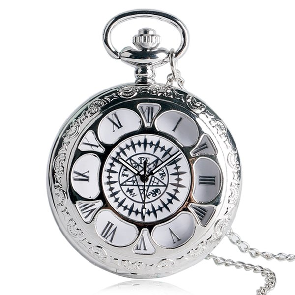 Japanese Anime Pocket Watch Hollow Floral Black Bulter Symbol Dial Slim Necklace Kuroshitsuji Cosplay Clock Cool Gifts for Teens