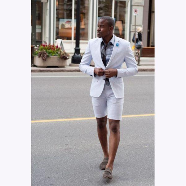 2019 Latest Coat Pant Designs White Wedding Suits For Men Short Pant Formal Slim Fit Summer Groom Beach Custom Best Man