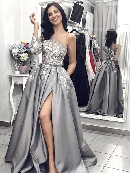Sexy One Shoulder Silver Satin Evening Dresses Lace Appliques Long Sleeves Side Split Prom Gowns with Pockets BC1410