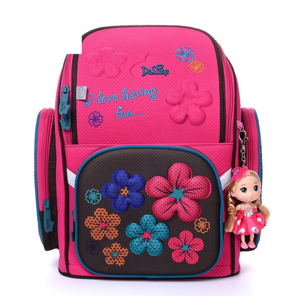 2019 Delune Brand High Quality Kids School Bags For Girls 3d Bear Print Cartoon Schoolbag Children 3d Orthopedic School Backpack