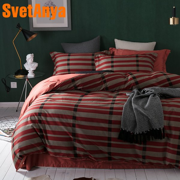 Svetanya Wine Stripe Egyptian Cotton Bedding Sets Bedsheet Pillowcases Duvet cover set Twin Queen King Double Size Bedclothes