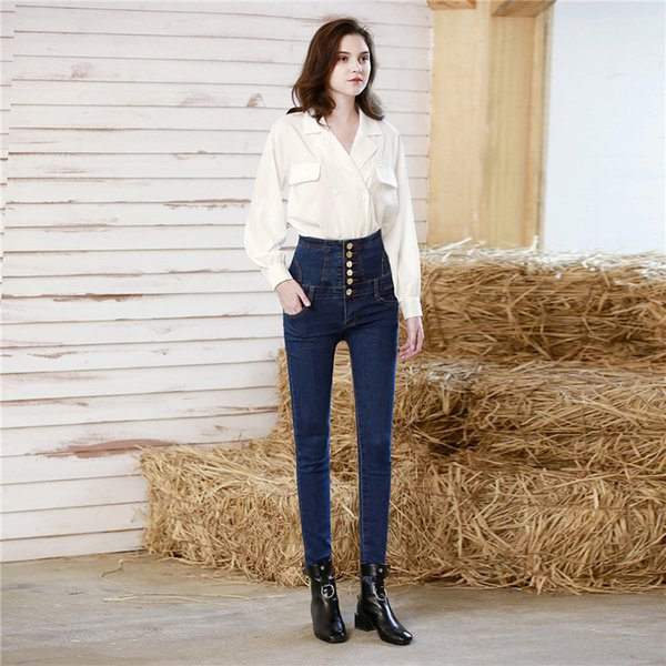 Winter Europe and America large size High waist jeans Black feet pants Women's Pencil pants