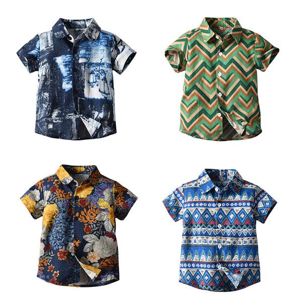 Niños Chicos Camisa Top Rizo Salpicaduras de tinta Impreso Estilo étnico Un solo pecho Ropa de verano Ropa de diseñador para niños 1-5 T