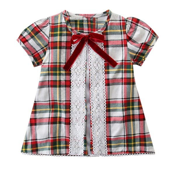 Dresses Girl Baby Clothes Summer New Girls Short Sleeve Bow Plaid Lace Panel T-Shirt Top Casual Dress For Girls 2019