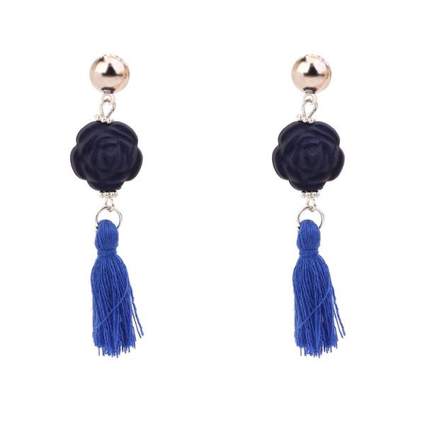 Mode européenne et américaine rétro rose laine gland boucles d'oreilles tempérament vent national multicolore longues boucles d'oreilles boucles d'oreilles vente directe