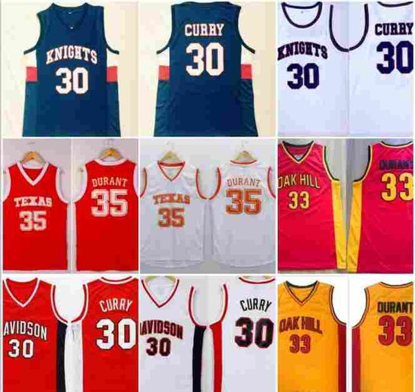 # Stephen 30 Curry Davidson # Kevin 35 Durant Texas College Basketball Shirts Stitched Knights Oak Hill High School Basketball Jersey